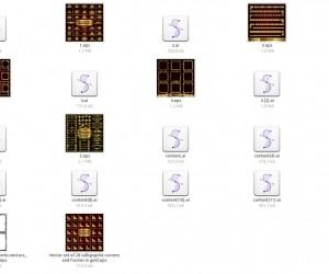 Золотые рамки  и элементы в векторе скачать